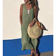 Mujer Línea A Vestido - Sin Mangas Color sólido Verano Escote en Pico Vestido maxi Festivos Vacaciones Hogar Negro Verde Ejército Dusty Blue Gris Oscuro Gris S M L XL XXL XXXL