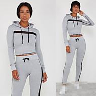 cheap -Women's 2-Piece Drawstring Tracksuit Sweatsuit Jogging Suit Casual Long Sleeve Breathable Quick Dry Moisture Wicking Running Active Training Jogging Sportswear Solid Colored Outfit Set Clothing Suit