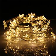 abordables -5 m Cuerdas de Luces 50 LED 1pc Blanco Cálido Día de San Valentín Navidad Interior Decorativa Estrella Pilas AA alimentadas