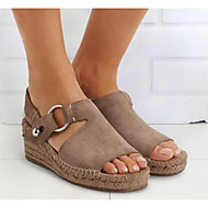 Women's Sandals Wedge Sandals Wedge Heel Round Toe Daily PU Summer Black Khaki Beige