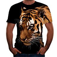 Męskie Puszysta Kolorowy blok 3D T-shirt Podstawowy Wyjściowe Weekend Okrągły dekolt Brązowy / Krótki rękaw / Zwierzę