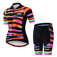 21Grams Women's Short Sleeve Cycling Jersey with Shorts Spandex Polyester Black / Orange Stripes Gradient Bike Clothing Suit Breathable 3D Pad Quick Dry Ultraviolet Resistant Sweat-wicking Sports