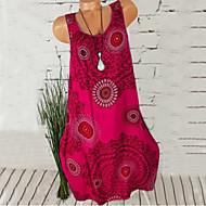 女性用 シフト ドレス - ノースリーブ プリント ルーズ ブラック フクシャ グリーン ネービーブルー ライトグレー グレー ライトブルー S M L XL XXL XXXL XXXXL XXXXXL