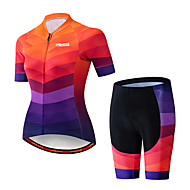 21Grams Women's Short Sleeve Cycling Jersey with Shorts Spandex Polyester Black / Orange Plaid Checkered Gradient Bike Clothing Suit Breathable 3D Pad Quick Dry Ultraviolet Resistant Sweat-wicking