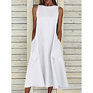 cheap -Women's A-Line Dress Midi Dress - Sleeveless Pocket Summer Basic Holiday White Blue Yellow Gray S M L XL XXL