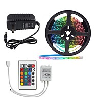 5M/16.4ft LED Light Strips RGB Tiktok Lights 2835 300leds Not waterproof 8mm Strips Lighting Flexible Color Changing with 24 Key IR Remote Ideal for Home Kitchen Christmas TV Back Lights DC 12V