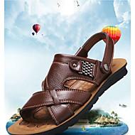 저렴한 -남성용 구두 가죽 여름 클래식 샌들 골프 / 워킹화 부티 / 앵클 부츠 일상 / 집 밖의 용 옐로우 / 브라운 / 블랙