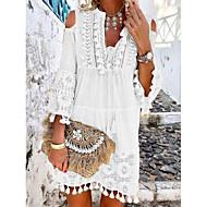 cheap -Women's Mini Shift Dress - 3/4 Length Sleeve Lace Tassel Fringe Cold Shoulder Summer Deep V Casual Boho Holiday Vacation Beach 2020 White Blue Yellow Blushing Pink Beige S M L XL XXL XXXL