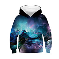 Kids Boys' Active Basic Galaxy Color Block 3D Long Sleeve Hoodie & Sweatshirt Black