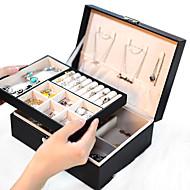 billige -dame pu skinn smykkeskrin oppbevaringsboks øreringer armbånd halskjede ring utstillingsetui dobbelt lag bærbare smykker arrangør 23x17x9cm