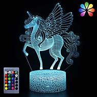 billige -enhjørning nattlys for barneformelig led nattlys nattbordslampe16 farger7 farger som skifter farge& fjernkontrollbestående enhjørning leker bursdags julegaver til jenter gutter (enhjørning)