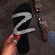 저렴한 -여성용 샌들 크리스탈 샌들 플랫 둥근 발가락 크리스탈 PU 여름 블랙