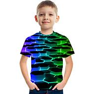 Παιδιά Αγορίστικα Βασικό Κομψό στυλ street Γεωμετρικό Συνδυασμός Χρωμάτων 3D Στάμπα Κοντομάνικο Κοντομάνικο Ουράνιο Τόξο