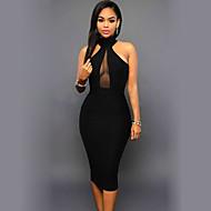 女性用 ボディコン ドレス - ノースリーブ 純色 バックレス タートルネック セクシー モダンシティ 日常 お出かけ スリム ブラック S M L XL