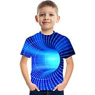 cheap -Kids Boys' T shirt Tee Short Sleeve 3D Print Graphic Color Block Causal Crewneck Children Tops Basic Streetwear Light Yellow Black Blue 3-12 Years