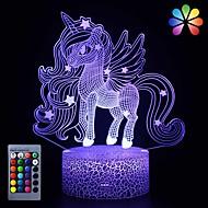 billige -Unicorn 3D nattlys Natt Lys For barn Fargeskiftende Bedårende Fjernkontroll Trykk på Dimmer Gradient Mode Valentinsdag Jul AA batterier drevet Usb 1pc