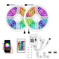 billige -led wifi trådløs rgb led smart stripelys vanntett 5050 300 leds 32,8ft 10m med 24 nøkler fjernkontroll fleksible båndlys passer alexagoogle home