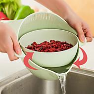 cheap -Kitchen Rotation Drain Basket Bowl Rice Washing Colander Basket Strainer Noodles Vegetable Fruit Double Drain Storage Basket Kitchen Tool