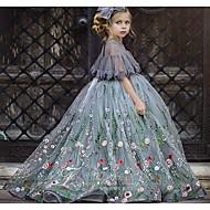 منفوش ذيل مثل الفرشاة زفاف فساتين فتاة الزهرة - تول كم قصير جوهرة مع زينة