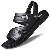 ราคาถูก -สำหรับผู้ชาย หนัง ฤดูร้อน รองเท้าแตะ ไม่ลื่นไถล สีน้ำตาล / สีดำ