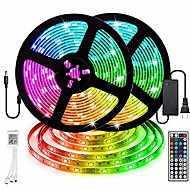 billige -2 x 5 m vanntett LED-lysstrimler RGB Tiktok Lights 5050 SMD 10mm Light Sets 300 LEDs with 44key IR Controller 50W 12V4A Power Supply Soft Light Strip Kit