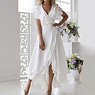 cheap -Women's Plus Size Wrap Dress - Sleeveless Ruffle Wrap Multi Layer Summer Deep V Sexy Holiday Vacation Beach 2020 White Dark Blue S M L XL XXL XXXL XXXXL XXXXXL