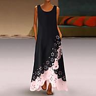 cheap -Women's A-Line Dress Maxi long Dress - Sleeveless Floral Hole Summer U Neck Casual 2020 White Purple Blushing Pink Gold Light Blue S M L XL XXL XXXL XXXXL XXXXXL