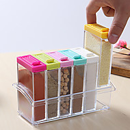 cheap -Spice Jar Seasoning Box 6Pcs/Set Kitchen Spice Storage Bottle Jars Transparent Salt Pepper Cumin Powder Box Tools