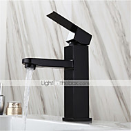 abordables -grifo de lavabo negro de acero inoxidable grifo de agua caliente y frío estilo europeo pintura baño cuadrado grifo monomando de lavabo