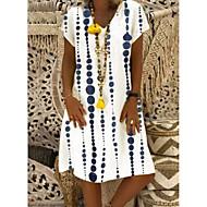 Χαμηλού Κόστους -Γυναικεία Φόρεμα ριχτό Φόρεμα μέχρι το γόνατο - Κοντομάνικο Γεωμετρικό Στάμπα Καλοκαίρι Λαιμόκοψη V Καθημερινό Διακοπές 2020 Λευκό M L XL XXL XXXL XXXXL XXXXXL