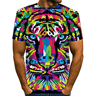 Herr Grafisk 3D Print Tiger Tryck T-shirt Grundläggande drivna Dagligen Rund hals Regnbåge / Kortärmad / Djur
