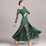 Ballroom Dance فستان دانتيل نسائي أداء كم طويل ارتفاع متوسط دانتيل ألياف الحليب