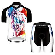 21Grams สำหรับผู้ชาย แขนสั้น Cycling Jersey with Shorts เส้นใยสังเคราะห์ สีดำ / สีขาว ไล่โทนสี สัตว์ Wolf จักรยาน ชุดออกกำลังกาย ระบายอากาศ แห้งเร็ว Ultraviolet Resistant แถบสะท้อนแสง Sweat-wicking