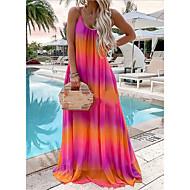 cheap -Women's Maxi Chiffon Dress - Sleeveless Geometric Summer Mumu Loose 2020 Red Yellow Green Gray Light Blue S M L XL XXL XXXL