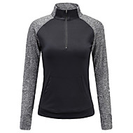 cheap -Women's Half Zip Running Shirt Long Sleeve High Neck Elastane Breathable Moisture Wicking Soft Fitness Gym Workout Running Active Training Jogging Sportswear Top Black Gray Activewear Stretchy