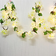 cheap -2pcs 2m 20LEDs Artificial Cherry Blossoms Flower LED Fairy String Lights 2pcs 1pc Wedding Valentine's Day Party Home Decor Garland Warm White Lighting (Come Without Battery)