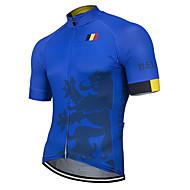 21Grams สำหรับผู้ชาย แขนสั้น Cycling Jersey เส้นใยสังเคราะห์ ฟ้า เบลเยี่ยม ธงประจำชาติ จักรยาน เสื้อยืด Tops ขี่จักรยานปีนเขา Road Cycling ทน UV ระบายอากาศ แห้งเร็ว กีฬา เสื้อผ้าถัก / แถบสะท้อนแสง