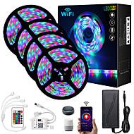 economico -mt 4x5 Set luci Strisce luminose RGB 1620 LED 2835 SMD 8mm 1 telecomando da 24Keys 1x connettore da 1 a 4 cavi 1 cavi CC 1 set Colori primari Natale Capodanno Controllo APP Accorciabile Feste 12 V