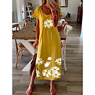 cheap -Women's Daisy Maxi long Dress - Short Sleeve Floral Print Summer Casual Vacation Loose 2020 Black Blue Yellow Gray S M L XL XXL XXXL