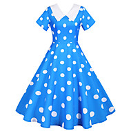 Audrey Hepburn Vintage Inspireret Kjoler Dame Spandex Kostume Hvid / Sort / Rød Vintage Cosplay Kortærmet