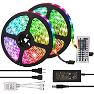 billige -KWB 10 m Lyssett 600 LED 5050 SMD 10mm RGB Fjernkontroll Kuttbar Mulighet for demping 100-240 V / Koblingsbar / Selvklebende / Fargeskiftende / IP44