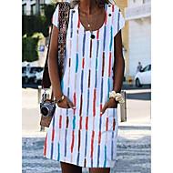 Femme Robe Droite Robe Longueur Genou Manches courtes Eté - Simple mumu Rayé 2020 Blanche Bleu Arc-en-ciel S M L XL XXL XXXL XXXXL XXXXXL