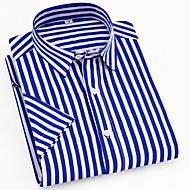 Men's Striped Plaid Print Shirt Daily Button Down Collar Blue / Short Sleeve