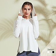 cheap -Women's Yoga Top Solid Color White Black Pink Running Fitness Gym Workout Hoodie Long Sleeve Sport Activewear Breathable Quick Dry Comfortable Stretchy