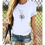 cheap -Women's T-shirt Graphic Print Round Neck Tops 100% Cotton Basic Basic Top Dog White Black