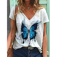 Női Póló Állat Pillangó Felsők - Nyomtatott V-alakú Napi Fehér S M L XL 2XL 3 XL