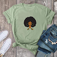cheap -Women's T-shirt Graphic Prints Print Round Neck Tops 100% Cotton Basic Basic Top White Red Yellow