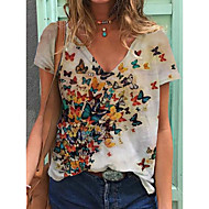 cheap -Women's T-shirt Butterfly Print V Neck Tops Loose Cotton Basic Basic Top White