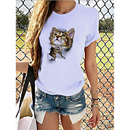 cheap -Women's T-shirt Graphic Print Round Neck Tops 100% Cotton Basic Basic Top Panda Cat White Cat