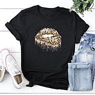 cheap -Women's T-shirt Leopard Print Round Neck Tops 100% Cotton Basic Basic Top White Black Red